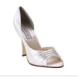 Wedding shoes!  white satin pumps.  Like new!